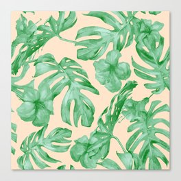 Tropical Coral Green Leaves Flower Pattern Canvas Print