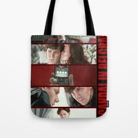 scandal Tote Bags featuring A Scandal in Belgravia by Alessia Pelonzi