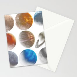 Nine planets universe space Science Fiction Day - blue planet Stationery Cards