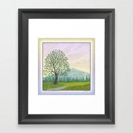OREGON ASH TREE IN SPRINGTIME VINTAGE PENCIL COLOR DRAWING Framed Art Print