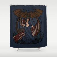 nouveau Shower Curtains featuring Elizabeth Nouveau by Karen Hallion Illustrations