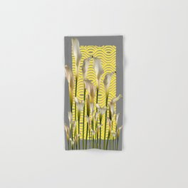 Grey & Yellow Pattern Calla Lilies Art Hand & Bath Towel