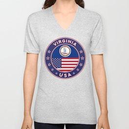 Virginia, USA States, Virginia t-shirt, Virginia sticker, circle Unisex V-Neck