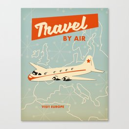 "1950s style ""by air"" travel poster print. Canvas Print"