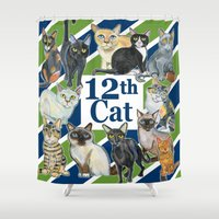 seahawks Shower Curtains featuring 12th Cat by AnimalFrenzArt  -- Whimsical animal art