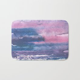 Pink Blue streaked watercolor painting Bath Mat