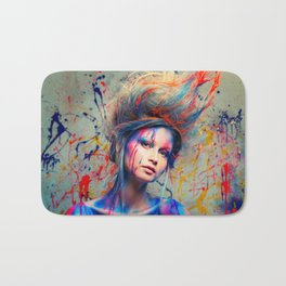 Young woman muse with creative body art and hairdo (3) Bath Mat