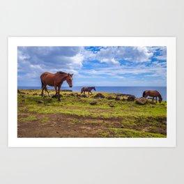 Horses on easter island cliffs Art Print