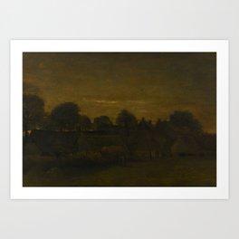Vincent van Gogh - Farming Village at Twilight Art Print