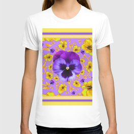 PANSIES YELLOW BUTTERFLIES & FLOWERS GARDEN T-shirt