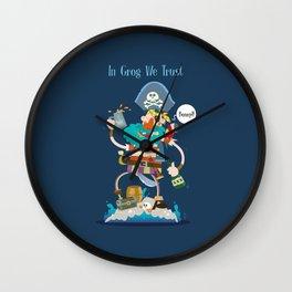 In Grog We Trust Wall Clock