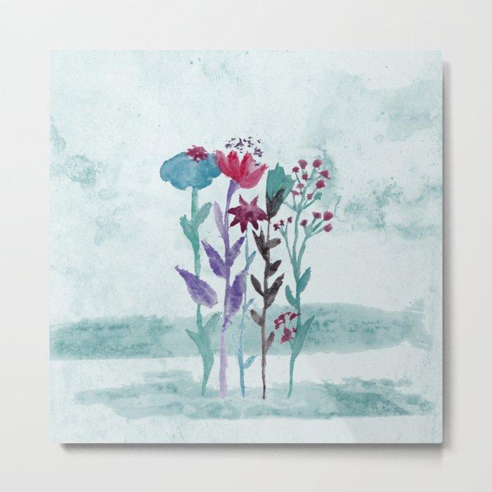 Meadow Flowers Watercolor Metal Print