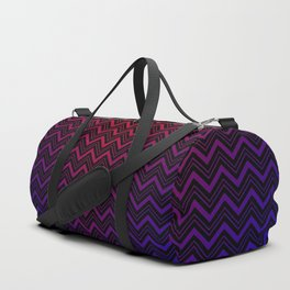 Chevron Pattern Black Red Blue Duffle Bag