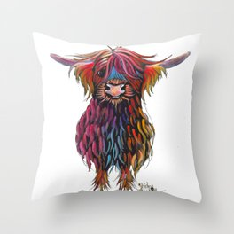 Scottish Highland Cow ' WiNSToN ' by Shirley MacArthur Throw Pillow