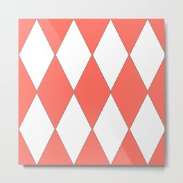 LIVING CORAL - LARGE HARLEQUIN DESIGN Metal Print