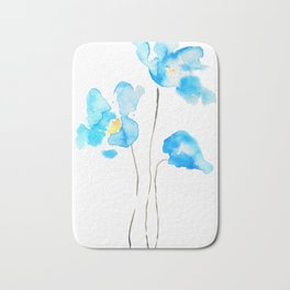 abstract Himalayan poppy flower watercolor Bath Mat