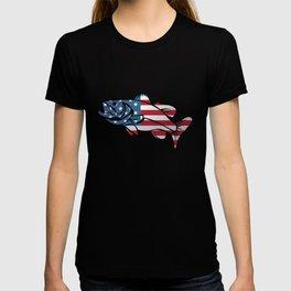 American Flag Large Mouth Bass Fishing T-shirt
