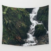 uk Wall Tapestries featuring Small hillside waterfall. Cumbria, UK. by liamgrantfoto