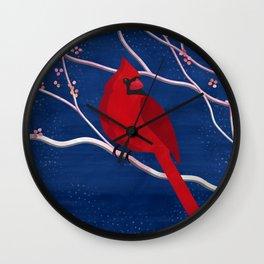 Cardinal on Blue Wall Clock