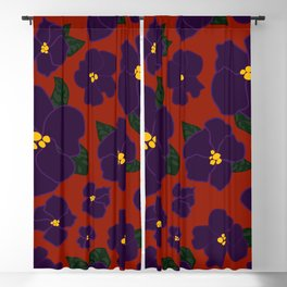 African Violets on red Blackout Curtain