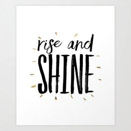 RISE AND SHINE, Inspirational Quote,Motivational Print,Digital Wall Art,Bedroom Decor Art Print