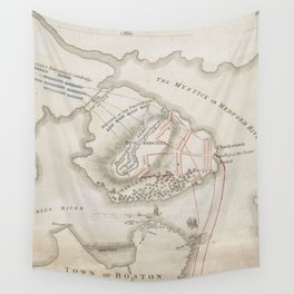 Vintage Battle of Bunker Hill Map (1775) Wall Tapestry
