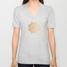 Gold Ethnic Pattern With Mandalas Unisex V-Neck
