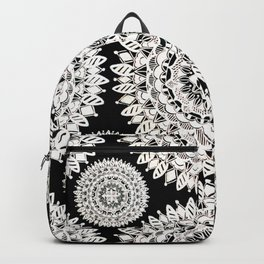 Black and Metallic White Floral Textile Mandala Backpack