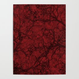 Carmine Red Hunting Camo Pattern Poster