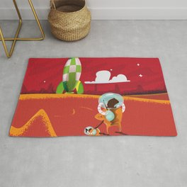 Visit Mars vintage cartoon poster Rug