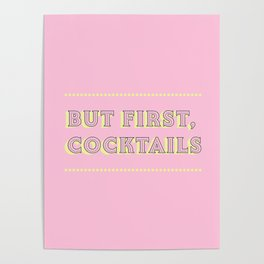 Pastel Pink Party Cocktails Poster