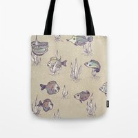 swimming Tote Bags featuring swimming by Lidija Paradinović Nagulov - Celandine