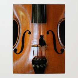 Black Cat And Violin #decor #society6 Poster