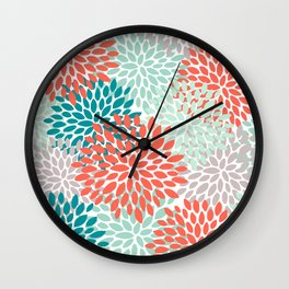 Floral Pattern, Living Coral, Teal and Mint Green Wall Clock