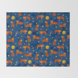 Cosmic Tigers Throw Blanket
