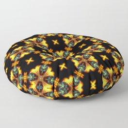 Green  Red Gold Christmas Stars Mosaic Pattern Floor Pillow