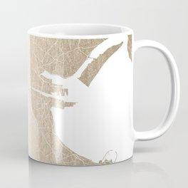 Dublin Street Map Gold and White II Coffee Mug