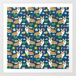 Corgi Beach summer fabric - cute dogs design Art Print