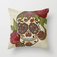 sugar skull Throw Pillows featuring Sugar Skull by Valentina Harper