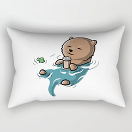 The Otter Side of the First Sip Rectangular Pillow