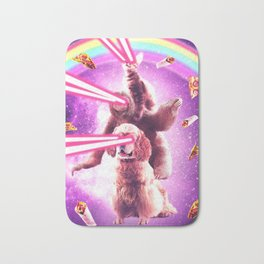 Laser Eyes Space Cat Riding Sloth, Dog - Rainbow Bath Mat
