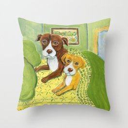 Pitbulls on patterned sheets Throw Pillow