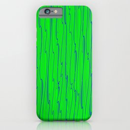 Vertical curved blue lines on a green tree. iPhone Case