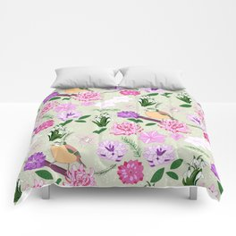 Joyful spring pink toned floral pattern with bird Comforters