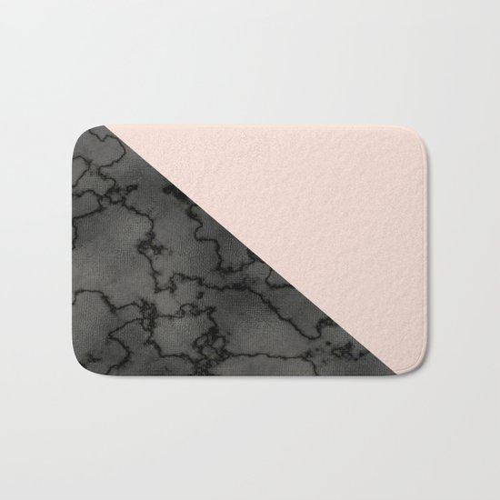 Peach and black dark marble Bath Mat