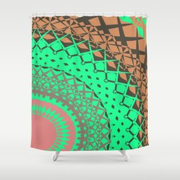 Mandala print in mint and pink Shower Curtain