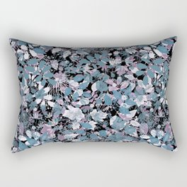 Openwork blue and purple leaves on a black background . Rectangular Pillow