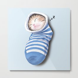 Cat in the Sock Metal Print