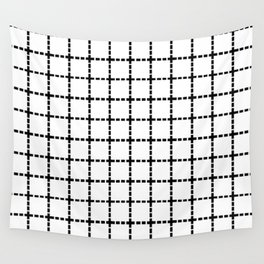 Dotted Grid Black on White Wall Tapestry