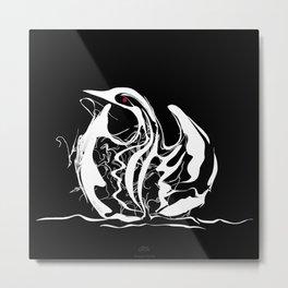 Swan-1. White on Black background-(Red eyes series) Metal Print